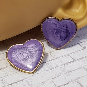 Swirled Enamel Heart Earrings
